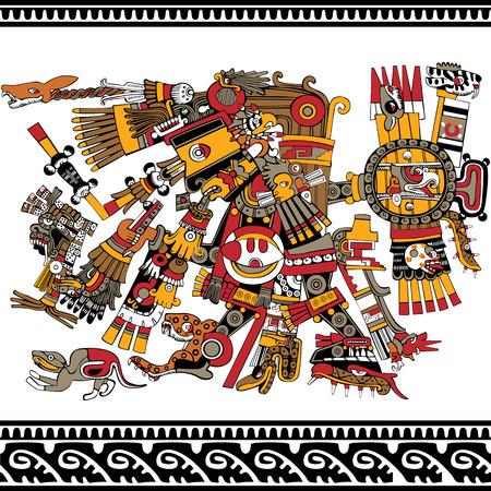 Aztec god, ancient mesoamerican ornament