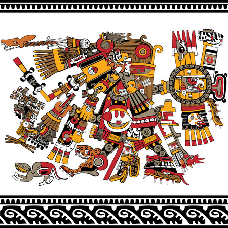 mesoamerican:  Aztec god, ancient mesoamerican ornament