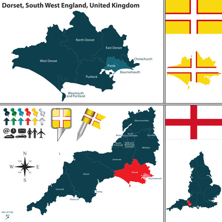 south west england:  map of Dorset in South West England, United Kingdom with regions and flags
