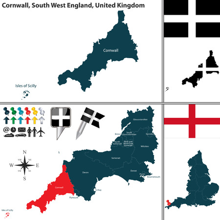 south west england:  map of Cornwall in South West England, United Kingdom with regions and flags Illustration