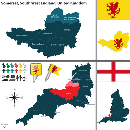 county somerset: map of Somerset in South West England, United Kingdom with regions and flags Illustration