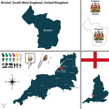 south west england: map of Bristol in South West England, United Kingdom with regions and flags Illustration