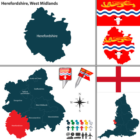 regions: map of Herefordshire in West Midlands, United Kingdom with regions and flags