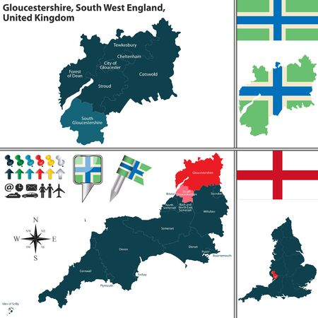 south west england:  map of Gloucestershire in South West England, United Kingdom with regions and flags Illustration