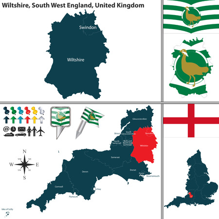 south west england:  map of Wiltshire in South West England, United Kingdom with regions and flags