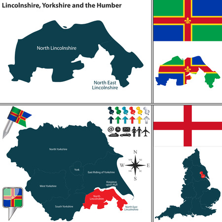 yorkshire and humber: Vector map of Lincolnshire in Yorkshire and the Humber, United Kingdom with regions and flags