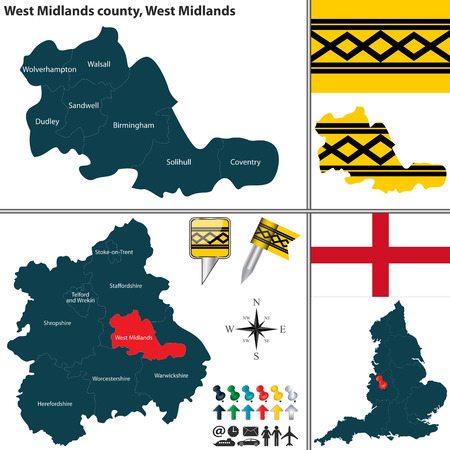 south west england: Vector map of West Midlands county in West Midlands, United Kingdom with regions and flags