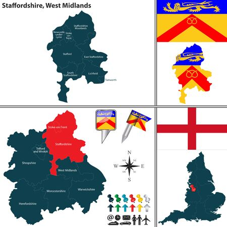 regions: Vector map of Staffordshire in West Midlands, United Kingdom with regions and flags