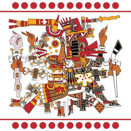 고대 mesoamerican 원고에서 아즈텍 신 Quetzalcoatl과 Mictlantecuhtli의 벡터 - 코덱스 보르자