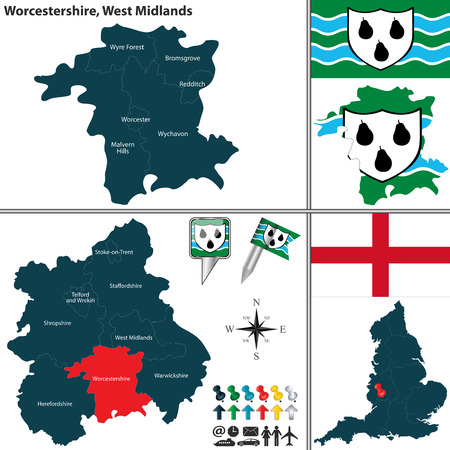 worcestershire: Vector map of Worcestershire in West Midlands, United Kingdom with regions and flags