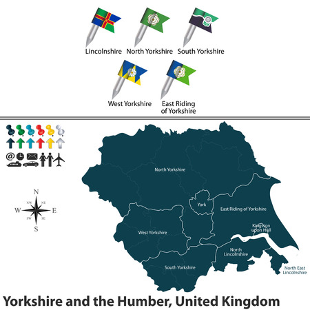yorkshire and humber: Vector map of Yorkshire and the Humber, United Kingdom with regions and flags