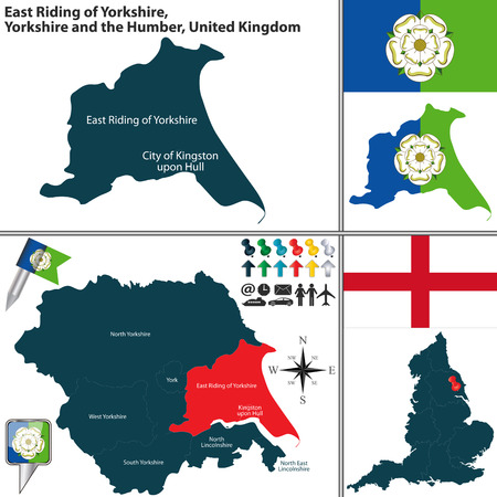 kingston: Vector map of East Riding of Yorkshire in Yorkshire and the Humber, United Kingdom with regions and flags