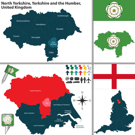 yorkshire and humber: Vector map of North Yorkshire in Yorkshire and the Humber, United Kingdom with regions and flags Illustration