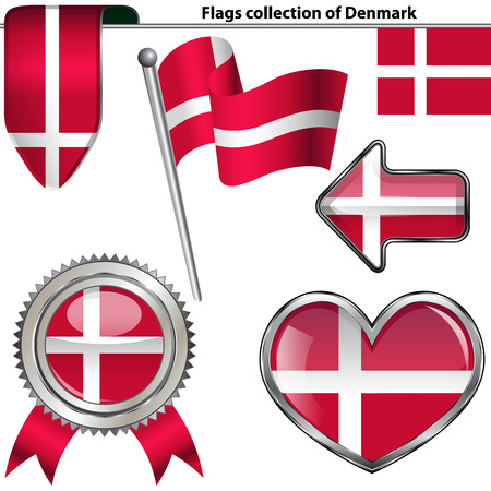glossy icons: Vector glossy icons of flag of Denmark on white