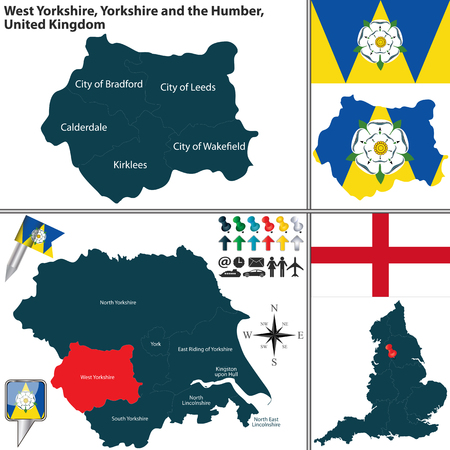 yorkshire and humber: Vector map of West Yorkshire in Yorkshire and the Humber, United Kingdom with regions and flags