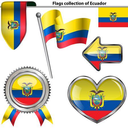republic of ecuador: Vector glossy icons of flag of Ecuador on white