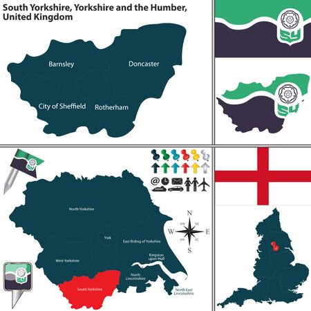 yorkshire and humber: Vector map of South Yorkshire in Yorkshire and the Humber, United Kingdom with regions and flags