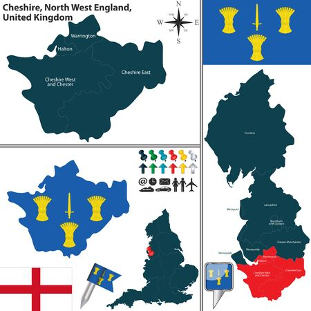 chester: Vector map of Cheshire in North West England, United Kingdom with regions and flags