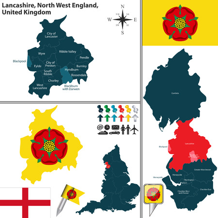 south west england: Vector map of Lancashire in North West England, United Kingdom with regions and flags