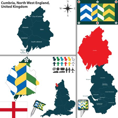 cumbria: Vector map of Cumbria in North West England, United Kingdom with regions and flags Illustration