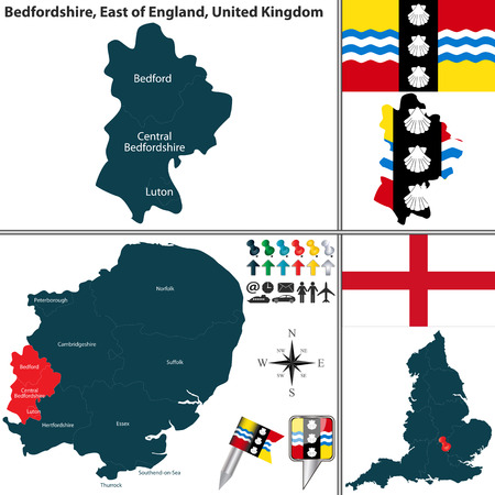 unitary: Vector map of Bedfordshire in East of England, United Kingdom with regions and flags
