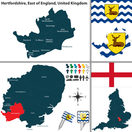 regions: Vector map of Hertfordshire in East of England, United Kingdom with regions and flags Illustration