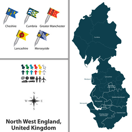 uk map: Vector map of North West England, United Kingdom with regions and flags