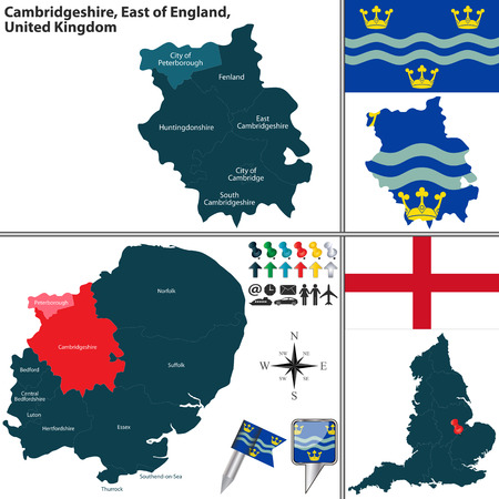 cambridgeshire: Vector map of Cambridgeshire in East of England, United Kingdom with regions and flags