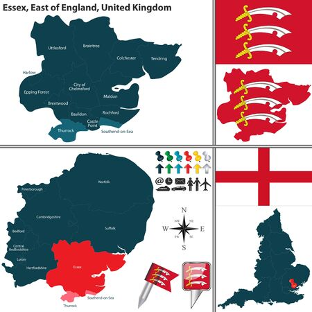 england map: Vector map of Essex in East of England, United Kingdom with regions and flags Illustration