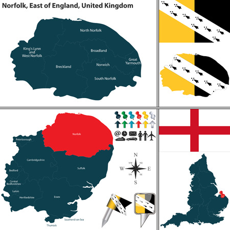 Vector map of Norfolk in East of England, United Kingdom with regions and flags Illustration