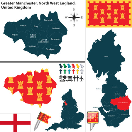 regions: Vector map of Greater Manchester in North West England, United Kingdom with regions and flags