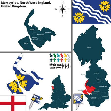 helens: Vector map of Merseyside in North West England, United Kingdom with regions and flags