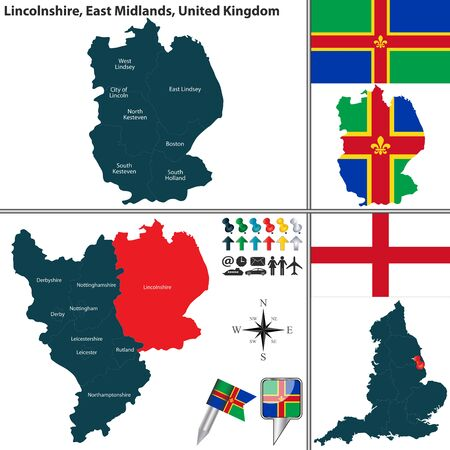 south west england: Vector map of Lincolnshire in East Midlands, United Kingdom with regions and flags