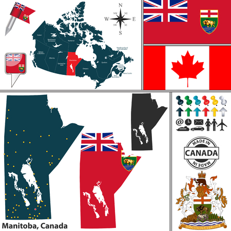 manitoba: Vector map of state Manitoba with coat of arms and location on Canadian map