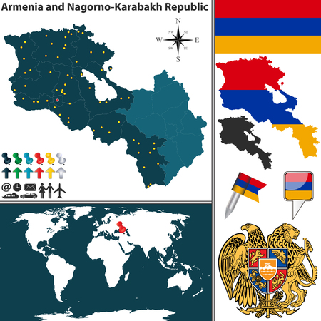 yerevan: Vector map of Armenia Nagorno Karabakh Republic with regions, coat of arms and location on world map