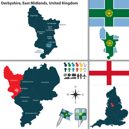 uk: Vector map of Derbyshire in East Midlands, United Kingdom with regions and flags