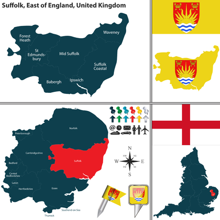 unitary: Vector map of Suffolk in East of England, United Kingdom with regions and flags