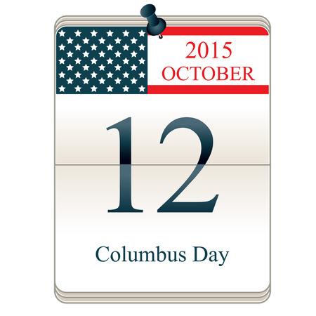caravelle: Vecteur de calendrier de la Journée Christophe Colomb 2015, avec drapeau américain