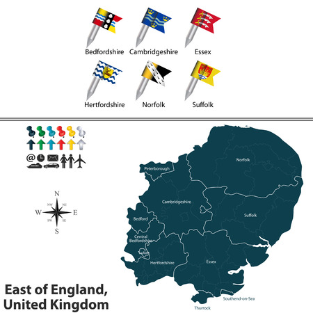 england map: Vector map of East of England, United Kingdom with regions and flags Illustration