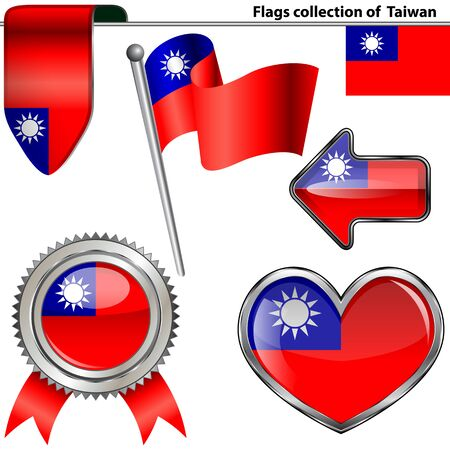 pushbutton: Vector glossy icons of Taiwanese flag Illustration