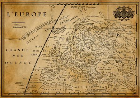 Alte europäische Karte mit Koordinatensystem auf altem Papier, XVIII Jahrhundert Standard-Bild