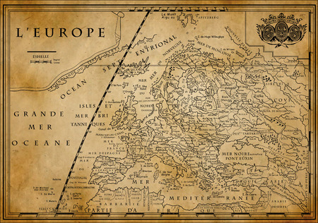 Old European map with coordinate system on old paper, XVIII century