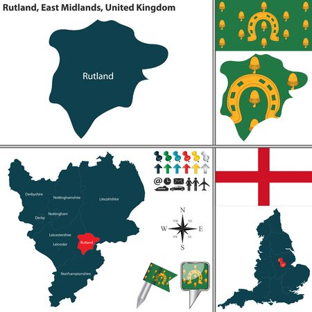 midlands: Vector map of Rutland in East Midlands, United Kingdom with regions and flags
