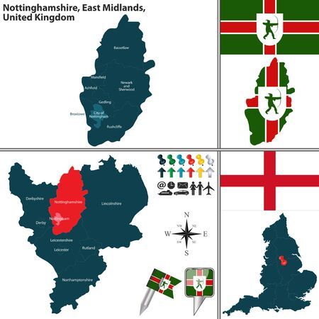 unitary: Vector map of Nottinghamshire in East Midlands, United Kingdom with regions and flags
