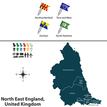 north yorkshire: Vector map of North East England, United Kingdom with regions and flags