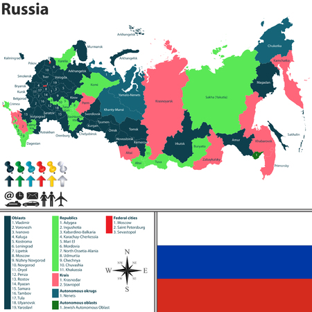 regions: Vector map of Russia with named regions, flag and badges