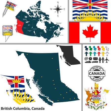 british columbia: Vector map of state British Columbia with coat of arms and location on Canadian map