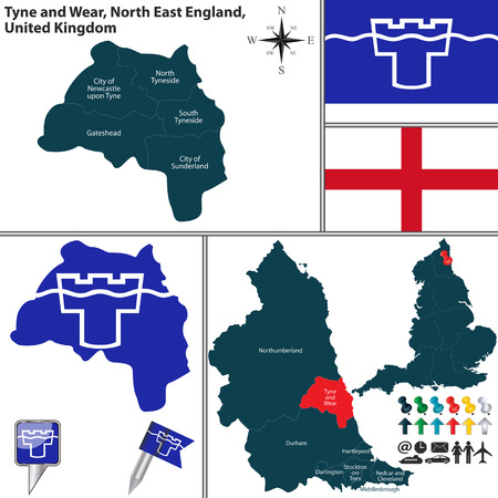 uk: Vector map of Tyne and Wear in North East England, United Kingdom with regions and flags