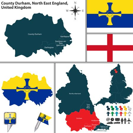 durham: Vector map of County Durham in North East England, United Kingdom with regions and flags Illustration