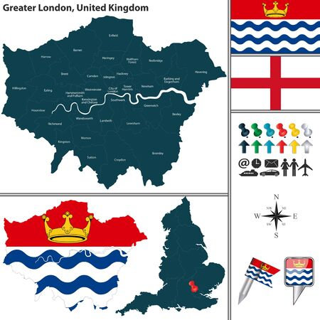 uk map: Vector map of Greater London in United Kingdom with regions and flags Illustration